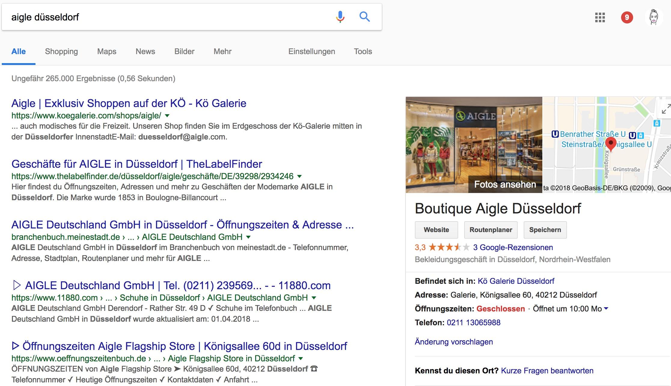 zeigt eine typische Suchanfrage bei Google
